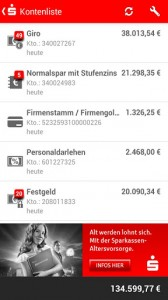 Screenshot Sparkassen-App